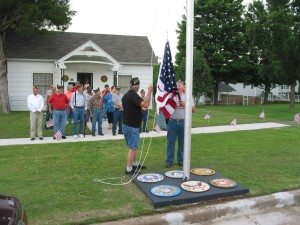 Members of Legion Post #142 and Auxiliary gather for raising of the colors - Memorial Day 2011